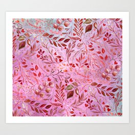 Gorgeous Red Flourish in Glamour Pink Art Print