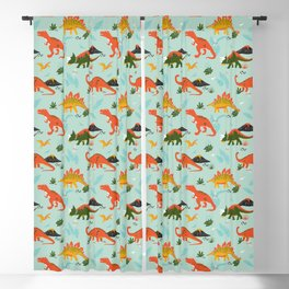 Jurassic Dinosaurs in Blue + Red Blackout Curtain