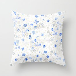 blue abstract hydrangea pattern Throw Pillow