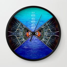 Fishies in Love, Kissing Fishes, Scanography Art Wall Clock