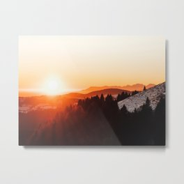 Red Orange Sunrise Parallax Mountains Pine tree Silhouette Minimalist Photo Metal Print