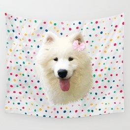 Sweet Samoyed Dog Wall Tapestry