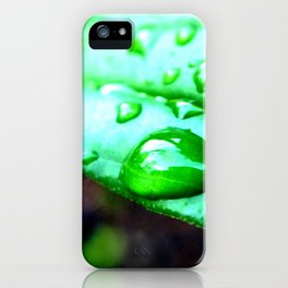 Macro leaves and water droplets. iPhone Case