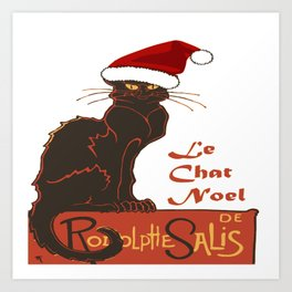 Le Chat Noel Christmas Vector Art Print