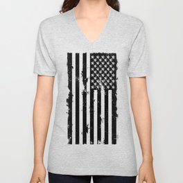 Black American Flag Unisex V-Neck