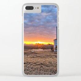 Grain Bin Sunset Clear iPhone Case