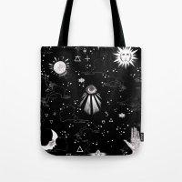 alchemy Tote Bags featuring Spiritual Alchemy by Deborah Panesar Illustration
