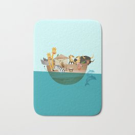 Noahs Ark with Animals– Illustration for the childrens room of girls and boys Bath Mat