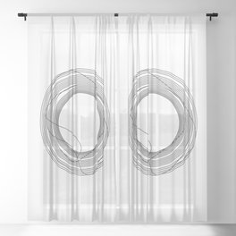Tangled Black Circles on White pattern design Sheer Curtain