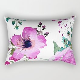 Poppies Roses Wildflowers Fushia Rectangular Pillow