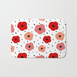 cute colorful pattern background with poppies Bath Mat