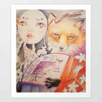 kitsune Art Prints featuring Kitsune by Eszter Nagy