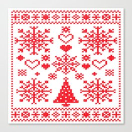 Christmas Cross Stitch Embroidery Sampler Red And White Canvas Print