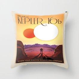 NASA Space Travel Retro Poster Kepler- 16B Throw Pillow