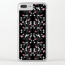 Pink black floral pattern Clear iPhone Case