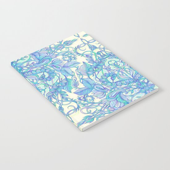 Lilac, Mint & Aqua Art Nouveau Pattern Notebook