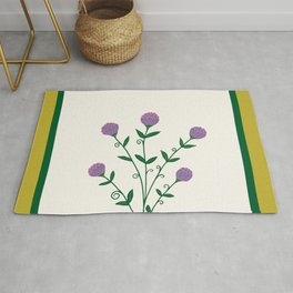 Medieval Vintage Golden Flowers in Antique Book Rug