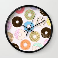 donuts Wall Clocks featuring Donuts by Alexandra Aguilar