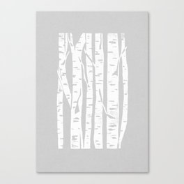 Woodcut Birches Grey Canvas Print