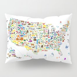 Animal Map of United States for children and kids Pillow Sham