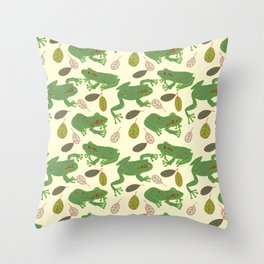 Fun Frogs with Leaves from Trees Throw Pillow