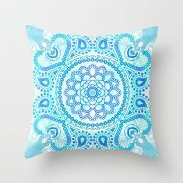 Blue Lotus Mandala Throw Pillow