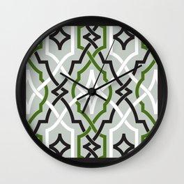classic modern lattice in black, grey, white & light emerald Wall Clock