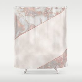 French polished rose gold marble & pearl Shower Curtain