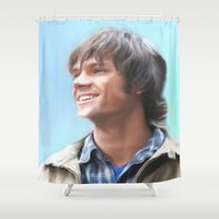 sam winchester Shower Curtains featuring Sam Winchester Pastel by Kaye Pyle