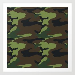 Woodland Camouflage Art Print
