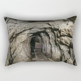 Mine cart in an old abandoned mine cave. Near Matlock, Derbyshire, UK. Rectangular Pillow