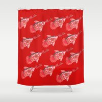 nba Shower Curtains featuring ROCKETS HAND DRAWING DESIGN by SUNNY Design