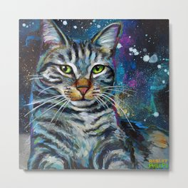 Galactic Cat In Space Painting by Robert Phelps Metal Print