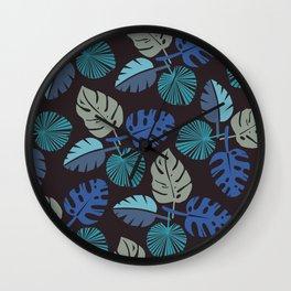 Blue Frond Wall Clock