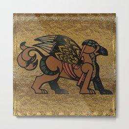 Gryphon New Age Mythology Folk Art Metal Print