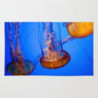 jelly fish Area & Throw Rugs featuring Jelly Fish by World Photos by Paola