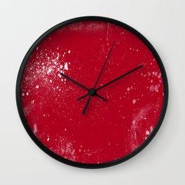 red dark raspberry white splat splatter splash colour palette Wall Clock