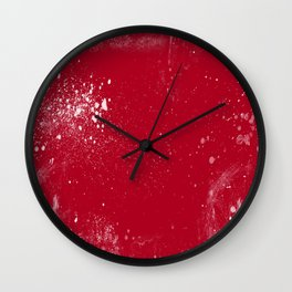 red dark raspberry white splat splatter splash colour palette Wall Clock