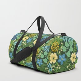 Tropical Blue and Yellow Floral Duffle Bag