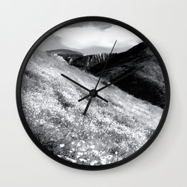 poppy flower field with mountain and cloudy sky background in black and white Wall Clock