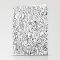 city Stationery Cards featuring Isometric Urbanism pt.1 by Herds of Birds