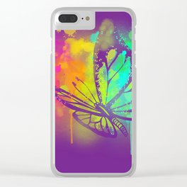 Spray Paint Butterfly Clear iPhone Case