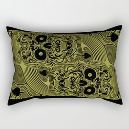 Ace of Spades Gold Skull Playing Card Rectangular Pillow