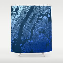 New York City Manhattan Two Tone Map Shower Curtain