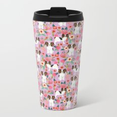 Papillon pet friendly small cute dog breed must have gift for dog lover florals dog pattern print Metal Travel Mug