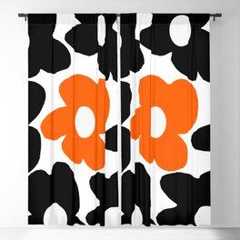 Large Orange and Black Retro Flowers White Background #decor #society6 #buyart Blackout Curtain