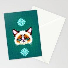 Grumpy Cat Geometric Pattern Stationery Cards