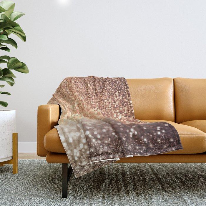 Cozy Copper Espresso Brown Ombre Autumnal Mermaid Glitter Throw Blanket