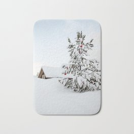 Christmas Tree In The Snow In Nordic Lapland | Norway Photo Art Print | Travel Photography Bath Mat