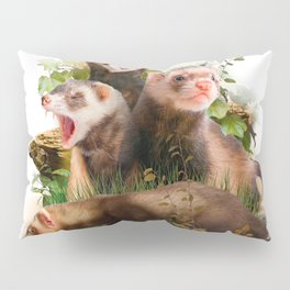 Four Ferrets in Their Wild Habitat Pillow Sham